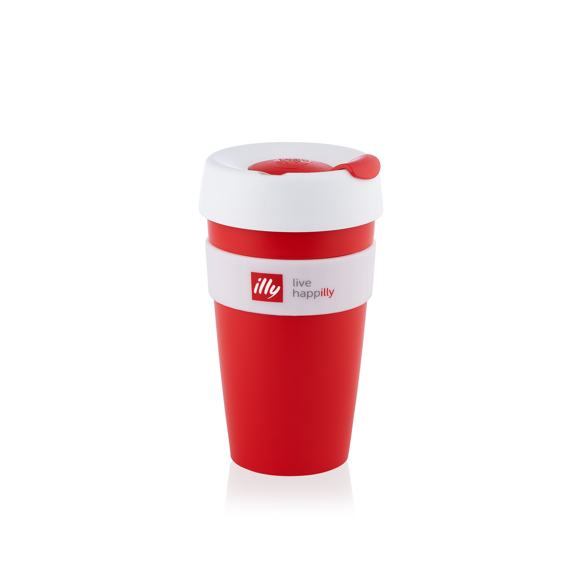 live happilly Red with White Lid KeepCup front view